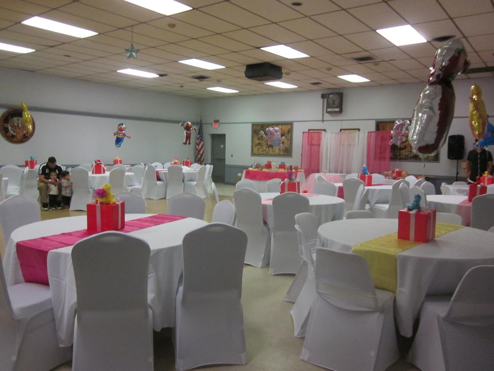 Hall decorated for a Birthday Party!